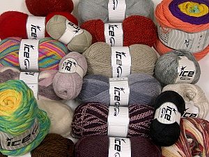 Wool - Acrylic Yarns This mixed lot includes a total of 1800 gr yarn. There is no standard for ball weight. Also disregard any information on the labels. You will get what you see in the photo. Brand ICE, fnt2-63535