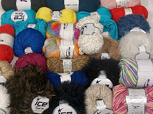 Fancy Yarns This mixed lot includes a total of 1800 gr yarn. There is no standard for ball weight. Also disregard any information on the labels. You will get what you see in the photo. Brand ICE, fnt2-63539