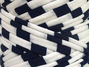 Make handbags,rugs,basket and cushion covers with this genius new-fashion yarn!<p>Since the yarn is made by upcycling fabrics, and because of the nature of the yarn; take the following notes into consideration. </p><ul><li>Fiber content information may vary. Information given about fiber content is approximate. </li><li>The yardage and weight information of the yarn is approximate. </li></ul> Vezelgehalte 95% Katoen, 5% Elastan, White, Navy, Brand ICE, fnt2-63585