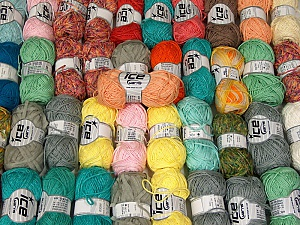 Summer Yarns This mixed lot includes a total of 2000 gr (70.5 oz.) yarn. There is no standard for ball weight. Also disregard any information on the labels. You will get what you see in the photo. Brand ICE, fnt2-63673