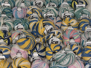 Monaco This mixed lot includes a total of 2000 gr (70.5 oz.) yarn. There is no standard for ball weight. Also disregard any information on the labels. You will get what you see in the photo. Fiber Content 50% Polyamide, 50% Acrylic, Brand ICE, fnt2-64067