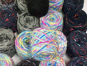 Custom Blends This mixed lot includes a total of 2000 gr (70.5 oz.) unlabeled yarn. There is no standard for ball weight. You will get what you see in the photo. Brand ICE, fnt2-64070