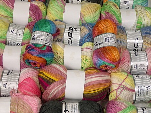 Self-Striping Yarns This mixed lot includes a total of 2000 gr (70.5 oz.) unlabeled yarn. There is no standard for ball weight. You will get what you see in the photo. Brand ICE, fnt2-64079