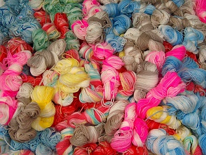 Magic Light Leftover This lot consists of about 100 hanks of Magic Light leftover yarn. The total weight is 2000 gr (70.5 oz.). Fiber Content 100% Acrylic, Brand ICE, fnt2-64090