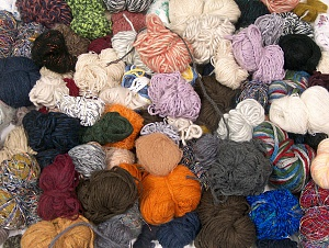 Leftover Yarns This mixed lot includes unlabeled leftover yarns. There is no standard for fiber content and ball weight. The total weight is 2000 gr (70.5 oz.). You will get what you see in the photo. Brand ICE, fnt2-64093