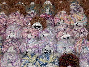Eyelash Blends This mixed lot includes a total of 2000 gr (70.5 oz.) yarn. There is no standard for ball weight. Also disregard any information on the labels. You will get what you see in the photo. Brand ICE, fnt2-64096