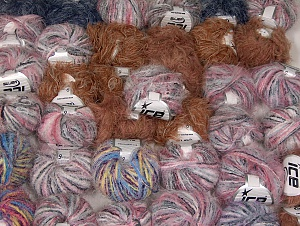 Eyelash Blends This mixed lot includes a total of 2000 gr (70.5 oz.) yarn. There is no standard for ball weight. Also disregard any information on the labels. You will get what you see in the photo. Brand ICE, fnt2-64098