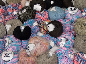 Fancy Yarns This mixed lot includes a total of 2000 gr (70.5 oz.) yarn. There is no standard for ball weight. Also disregard any information on the labels. You will get what you see in the photo. Brand ICE, fnt2-64101