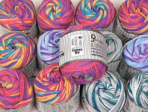 Cakes Air This mixed lot includes a total of 2000 gr (70.5 oz.) yarn. There is no standard for ball weight. Also disregard any information on the labels. You will get what you see in the photo. Fiber Content 50% Polyamide, 50% Acrylic, Brand ICE, fnt2-64103