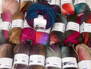 Self-Striping Yarns This mixed lot includes a total of 2000 gr (70.5 oz.) unlabeled yarn. There is no standard for ball weight. You will get what you see in the photo. Brand ICE, fnt2-64104