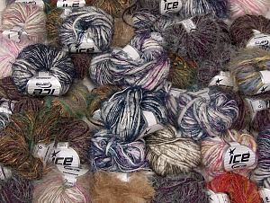 Eyelash Blends This mixed lot includes a total of 2000 gr (70.5 oz.) yarn. There is no standard for ball weight. Also disregard any information on the labels. You will get what you see in the photo. Brand ICE, fnt2-64109