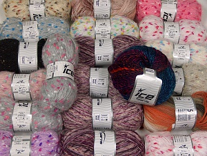 Fancy Yarns This mixed lot includes a total of 2000 gr (70.5 oz.) yarn. There is no standard for ball weight. Also disregard any information on the labels. You will get what you see in the photo. Brand ICE, fnt2-64112