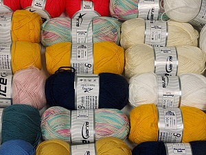 Summer Yarns This mixed lot includes a total of 2000 gr (70.5 oz.) yarn. There is no standard for ball weight. Also disregard any information on the labels. You will get what you see in the photo. Brand ICE, fnt2-64115