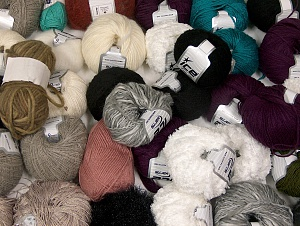 Winter Yarns This mixed lot includes a total of 2000 gr (70.5 oz.) yarn. There is no standard for ball weight. Also disregard any information on the labels. You will get what you see in the photo. Brand ICE, fnt2-64116