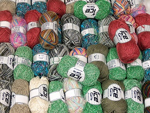 Fancy Yarns This mixed lot includes a total of 2000 gr (70.5 oz.) yarn. There is no standard for ball weight. Also disregard any information on the labels. You will get what you see in the photo. Brand ICE, fnt2-64118