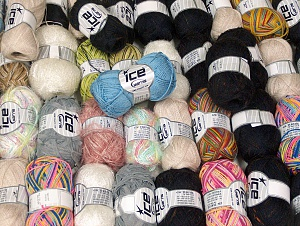 Winter Yarns This mixed lot includes a total of 2000 gr (70.5 oz.) yarn. There is no standard for ball weight. Also disregard any information on the labels. You will get what you see in the photo. Brand ICE, fnt2-64128