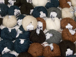 Winter Yarns This mixed lot includes a total of 2000 gr (70.5 oz.) yarn. There is no standard for ball weight. Also disregard any information on the labels. You will get what you see in the photo. Brand ICE, fnt2-64130