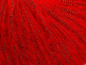 Fiber Content 30% Acrylic, 30% Polyester, 25% Wool, 15% Metallic Lurex, Red, Brand ICE, fnt2-64180