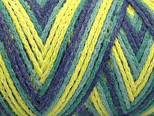 Fiber Content 50% Polyamide, 50% Acrylic, Neon Yellow, Jeans Blue, Brand Ice Yarns, Green Shades, Yarn Thickness 4 Medium Worsted, Afghan, Aran, fnt2-64471