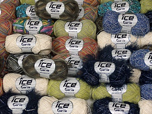 Summer Yarns This mixed lot includes a total of 2000 gr (70.5 oz.) yarn. There is no standard for ball weight. Also disregard any information on the labels. You will get what you see in the photo. Brand Ice Yarns, fnt2-64837