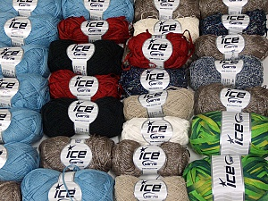 Summer Yarns This mixed lot includes a total of 2000 gr (70.5 oz.) yarn. There is no standard for ball weight. Also disregard any information on the labels. You will get what you see in the photo. Brand Ice Yarns, fnt2-64840