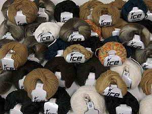 Winter Yarns This mixed lot includes a total of 2000 gr (70.5 oz.) yarn. There is no standard for ball weight. Also disregard any information on the labels. You will get what you see in the photo. Brand Ice Yarns, fnt2-64865