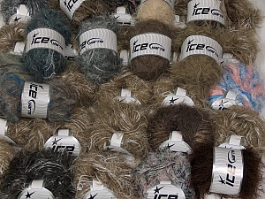 Eyelash Blends This mixed lot includes a total of 2000 gr (70.5 oz.) yarn. There is no standard for ball weight. Also disregard any information on the labels. You will get what you see in the photo. Brand Ice Yarns, fnt2-64874