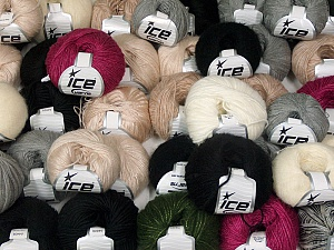 Fancy Yarns This mixed lot includes a total of 2000 gr (70.5 oz.) yarn. There is no standard for ball weight. Also disregard any information on the labels. You will get what you see in the photo. Brand Ice Yarns, fnt2-64886