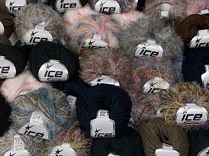 Fancy Yarns This mixed lot includes a total of 2000 gr (70.5 oz.) yarn. There is no standard for ball weight. Also disregard any information on the labels. You will get what you see in the photo. Brand Ice Yarns, fnt2-64895