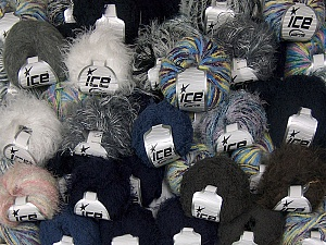 Fancy Yarns This mixed lot includes a total of 2000 gr (70.5 oz.) yarn. There is no standard for ball weight. Also disregard any information on the labels. You will get what you see in the photo. Brand Ice Yarns, fnt2-64896