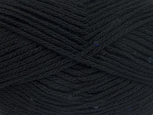 Fiber Content 98% Acrylic, 2% Paillette, Brand Ice Yarns, Black, fnt2-64999