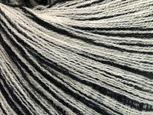 Fiber Content 64% Superwash Extrafine Merino Wool, 20% Cashmere, 16% Elite Polyester, Brand Ice Yarns, Cream, Black, fnt2-65009