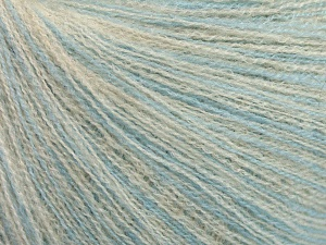 Fiber Content 64% Superwash Extrafine Merino Wool, 20% Cashmere, 16% Elite Polyester, Brand Ice Yarns, Cream, Baby Blue, fnt2-65010