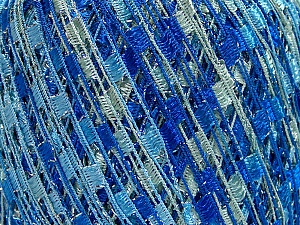 Trellis  Fiber Content 95% Polyester, 5% Lurex, Brand Ice Yarns, Blue Shades, Yarn Thickness 5 Bulky  Chunky, Craft, Rug, fnt2-65067