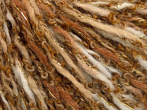 Fiber Content 58% Acrylic, 40% Wool, 2% Metallic Lurex, Brand Ice Yarns, Gold, Cream, Brown Shades, Yarn Thickness 3 Light  DK, Light, Worsted, fnt2-65071