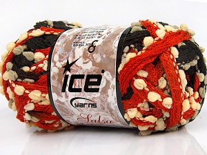 Fiber Content 85% Acrylic, 15% Nylon, Orange, Light Grey, Brand Ice Yarns, Ecru, Black, fnt2-65183