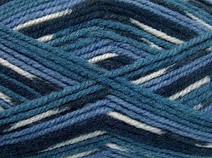 Fiber Content 50% Wool, 50% Acrylic, White, Brand Ice Yarns, Blue Shades, Yarn Thickness 4 Medium Worsted, Afghan, Aran, fnt2-65203