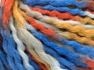 Fiber Content 60% Acrylic, 30% Wool, 10% Mohair, White, Orange, Brand Ice Yarns, Gold, Blue, fnt2-65259