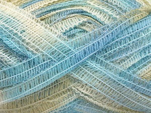 Fiber Content 50% Wool, 37% Polyamide, 13% Metallic Lurex, Light Blue, Brand Ice Yarns, Beige, fnt2-65305
