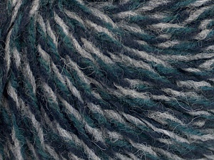 Fiber Content 70% Acrylic, 30% Wool, Turquoise, Navy, Light Grey, Brand Ice Yarns, fnt2-65371