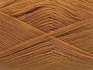 Very thin yarn. It is spinned as two threads. So you will knit as two threads. Yardage information is for only one strand. Fiber Content 100% Acrylic, Light Brown, Brand Ice Yarns, fnt2-65377