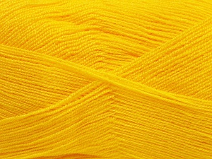 Very thin yarn. It is spinned as two threads. So you will knit as two threads. Yardage information is for only one strand. Fiber Content 100% Acrylic, Brand Ice Yarns, Gold, fnt2-65381