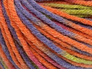 Fiber Content 60% Viscose, 20% Polyamide, 10% Wool, Salmon, Pink, Lilac, Light Green, Brand Ice Yarns, fnt2-65428