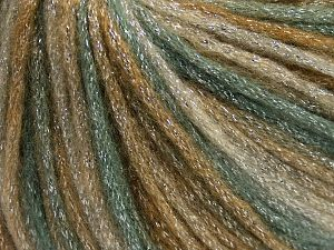 Fiber Content 40% Acrylic, 30% Metallic Lurex, 30% Wool, Khaki Shades, Brand Ice Yarns, Yarn Thickness 4 Medium  Worsted, Afghan, Aran, fnt2-65537