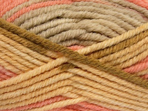 Fiber Content 50% Wool, 50% Acrylic, Light Yellow, Light Pink, Light Brown, Brand Ice Yarns, Beige, fnt2-65644