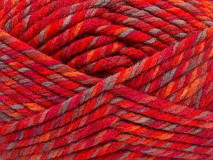 Fiber Content 75% Acrylic, 25% Superwash Wool, Red, Orange Shades, Light Camel, Brand Ice Yarns, Yarn Thickness 6 SuperBulky Bulky, Roving, fnt2-65763