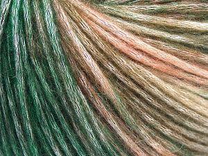 Fiber Content 50% Modal, 35% Acrylic, 15% Wool, Salmon Shades, Brand Ice Yarns, Green Shades, Yarn Thickness 4 Medium Worsted, Afghan, Aran, fnt2-65851