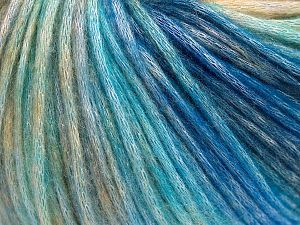 Fiber Content 50% Modal, 35% Acrylic, 15% Wool, Turquoise Shades, Brand Ice Yarns, Cream Shades, Yarn Thickness 4 Medium Worsted, Afghan, Aran, fnt2-65854