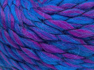 Fiber Content 70% Premium Acrylic, 15% Wool, 15% Alpaca, Brand Ice Yarns, Fuchsia, Blue, Yarn Thickness 6 SuperBulky Bulky, Roving, fnt2-65910