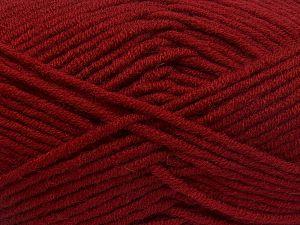 Fiber Content 50% Merino Wool, 50% Acrylic, Brand Ice Yarns, Dark Red, Yarn Thickness 5 Bulky Chunky, Craft, Rug, fnt2-65962